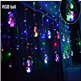 A To Z Traders 2.2 Meter Fancy Glass Balls LED Curtain Lights NET MESH JAAL LED Light And FREE 1 HAND Shape LED Light Keychain