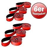 6 x Original Deuserband Fitnessband Expander Fitness Kraft Training rot/schwarz