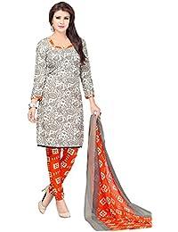 A K Designer Women's Chiffon Dress Material (Mehak10009_Free Size_Silver)