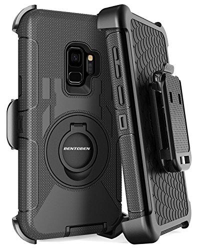 BENTOBEN Samsung S9 Hülle, Galaxy S9 Hülle, S9 Schutzhülle stoßfest Hybrid PC Silikon Schale mit Schwenkhalterung Gürtel Clip Cover Outdoor Hülle für Samsung Galaxy S9 Schwarz