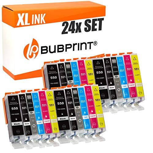 24 Druckerpatronen kompatibel für Canon PGI-550 CLI-551 XL PGI 550 CLI 551XL mit Chip für Canon Pixma MG7550 IP8750 MG6350 MG7150 MG6300 Multipack