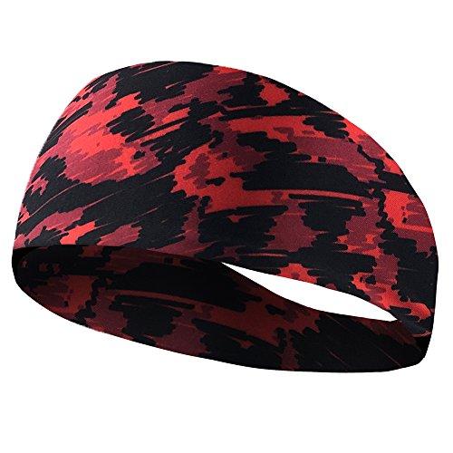 Romdink Running Stirnband Sport Wicking Stirnband Männer Frauen Schweißband absorbierende Feuchtigkeit für Yoga, Reiten, Basketball - Feuchtigkeit Wicking Golf