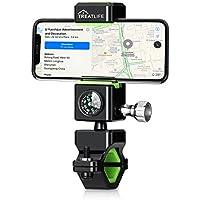 Soporte Movil Bicicleta Moto Montaña Universal Giratorio Smartphone [Treatlife] Accessories Soporte con Iluminación nocturna LED con Brújula , Anti vibración Silicona de Teléfono Móvil de 3.0-6.5 pulgadas, Apoyo 360° Rotación, Compatible para iPhone 8/8 Plus/X/7/6, Xiaomi, Huawei Smartphone, Samsung GPS