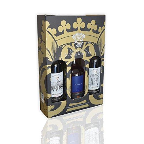 Masseria Barone Melodia Trittico 3 Vini: 1 Vino Rosso Frangivento + 1 Vino Rosato Rosapulia + 1 Vino Bianco Fondonoce - Set 3 Vini in Confezione Regalo Risparmio