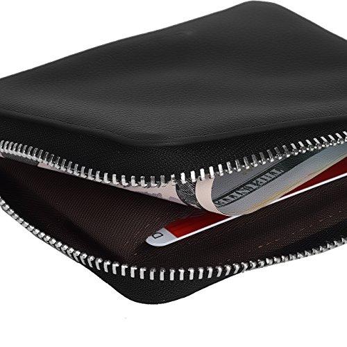527fd57779 Lackingone Mini Portafoglio di Pelle RFID con Cerniera Lampo Porta Carte da  viaggio Portafoglio Classico Borsa Wallet Nero