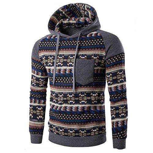 Sannysis Herren Retro Langarm Kapuzenpullover Mit Kapuze Sweatshirt Tops Jacken Mantel Outwear (M, Dunkelgrau) (Baby Mädchen-kleidung Gap)