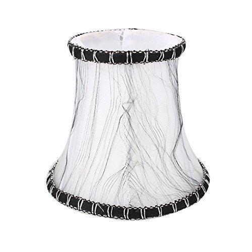 Fenghong Europäischer Weinlese-Art-Lampen-Schatten Für Wandleuchter Kronleuchter Kerze Kristall Lampe (weiß mit schwarzer Seide) -