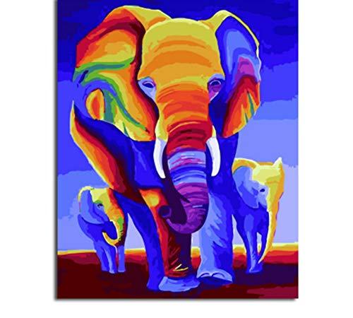 (Sin Marco) Cuadro De Pintura Y Caligrafía De Animales Loely Elefantes Pintura...
