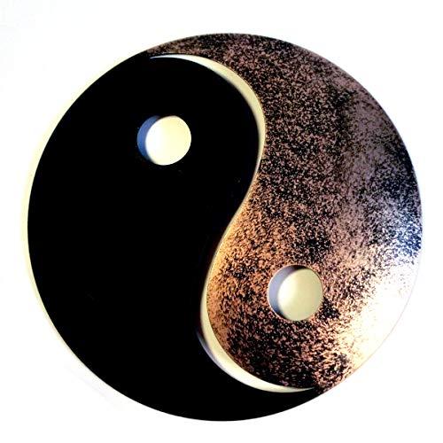 Shamwari Art Yin Yang aus Metall, schwarz/Gold, 20cm, wetterfest - Wanddeko Meditation Zen Garten