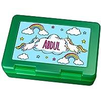 Preisvergleich für Brotdose mit Namen Abdul - Motiv Einhorn, Lunchbox mit Namen, Frühstücksdose Kunststoff lebensmittelecht