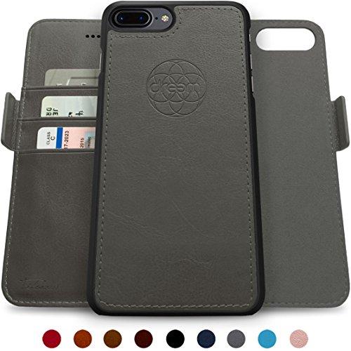 Dreem Fibonacci Brieftasche & Schutz-Hülle für iPhone 7/8-Plus, magnetisches herausnehmbare TPU Case, dünn bruchfest, 2 Standfunktionen, hochwertige synthetische Leder-Tasche, RFID Schutz - Grau