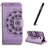 Slynmax Huawei Y5 II Case Purple,Huawei Y5 II Case Flip,Slynmax Luxury Magnetic Flip Folio PU Leather Case Wallet [Mandala Buckle] Embossed Mandala Flower Design Sillicone TPU Inner Protective Bumper Cover with Outdoor Hand Strap Magnetic Closure Stand Function Business Credit Card Holder ID Slots Cash Pouch Notebook Style Ultra Slim Fit Lightweight Shockproof Smart Shell for Huawei Y5 II + 1* Free Stylus Touch Pen