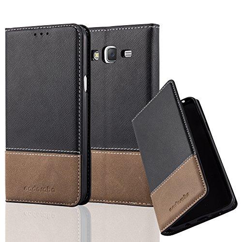 Preisvergleich Produktbild Cadorabo Hülle für Samsung Galaxy J5 2015 (5) - Hülle in SCHWARZ BRAUN – Handyhülle mit Standfunktion und Kartenfach aus Einer Kunstlederkombi - Case Cover Schutzhülle Etui Tasche Book
