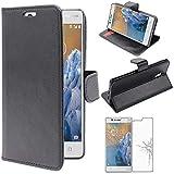 ebestStar - Coque Compatible avec Nokia Nokia 3 Etui PU Cuir Housse Portefeuille Porte-Cartes Support Stand, Noir + Film Protection écran Verre Trempé [Appareil: 143.4 x 71.4 x 8.5mm, 5.0'']