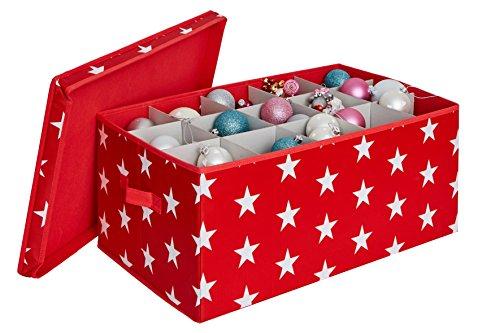Store.it contenitore per fino a 30palle di natale con divisori, poliestere, rosso, 56x 36x 25cm