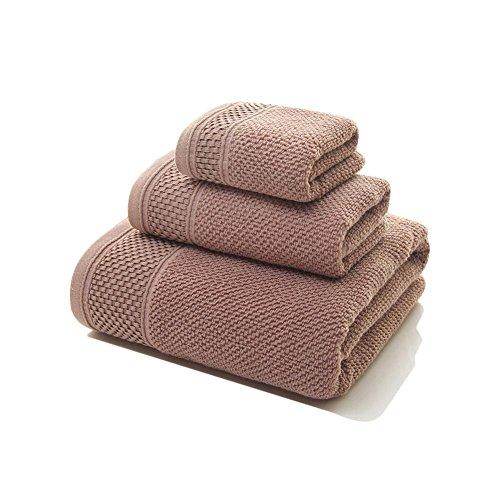 Sunsline Neue 100% ägyptische Baumwolle 3pcs Gesicht Hand Bad Handtücher Set (Braun)