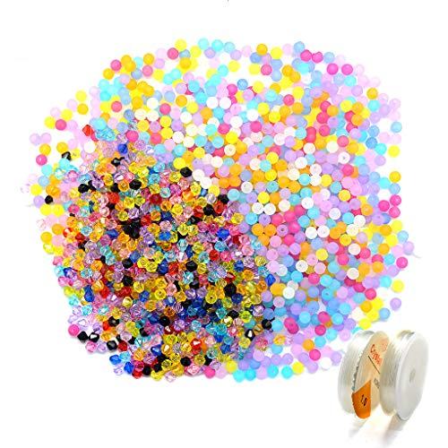 HEEFEN 1800 Stück Facettierte Kristall Glasperlen bunt Rund gemischt Acryl Perlen für DIY Schmuck Halskette Armband Basteln (Runde Kristall-perlen)