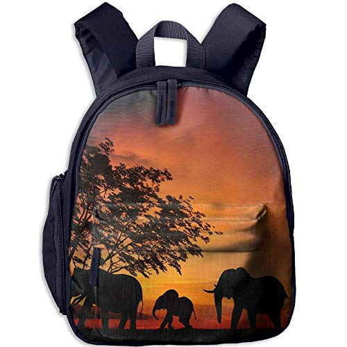 Mochila de jardín de Infantes Elefante Africano en Puesta de Sol Mochila Escolar para niños