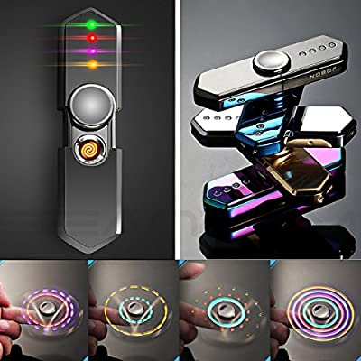 Rotatable LED Light Windproof Lighter, Changing LED Patterns Metal Body USB Rechargeable Novelty LED Electronic Cigarette Lighter Coil Lighter Flameless Smoking Cigar Lighter Gift Box by seaNpem