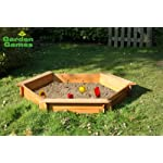 WOODEN GARDEN HEXAGONAL 3 SEATER 1.5M SAND PIT / SANDBOX WITH PVC COVER