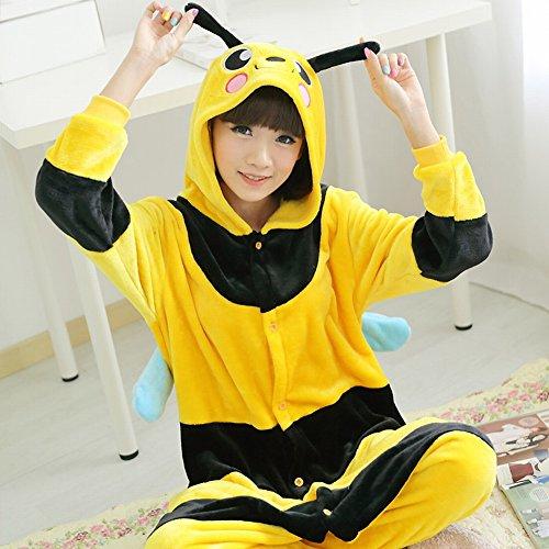 Unisex Adult Pyjamas - Plüsch One Piece Cosplay Tier Kostüm Winter Verdickung Freizeitbekleidung,Bienen,XL