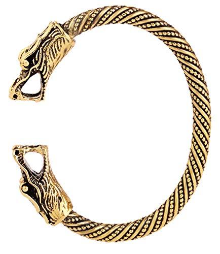 Pulseras de dragón vikingo pagano hechas a mano para hombre y mujer (oro)