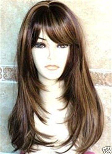 Kalyss Yaki Peluca sintética para mujer con flequillo para el pelo, peluca de pelo sintético larga y recta resistente al calor para mujer