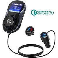 Transmisor FM Bluetooth, Quick Charge 3.0+5V/1A Duales USB Cargador Coche Radio Transmisor, 1.4 inch MP3 Radio Adaptador Inalambrico con Manos Libre Llamada for iPhone, iPad, iPod, Samsung, Android