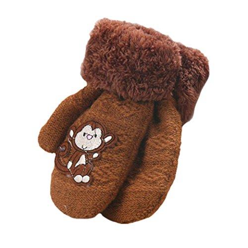 Handschuhe Longra, Nette verdicken heiße Säuglingsbaby-Mädchen-Jungen der Winter-warmen Handschuhe(1 bis 8 Jahren) (Coffee)