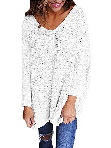Minetom donna autunno inverno casuale maglioni v collo maniche lunghe pullover jumper maglia maglione oversize sweatshirt maglietta tops bianco it 50