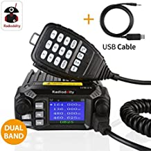 Radioddity DB25 PMR Dual Band Quad-standby Mini Mobile Auto Truck Radio, VHF UHF 4 Colore Display, 25W/10W Car Ricetrasmittente with Cavo di Programmazione & CD