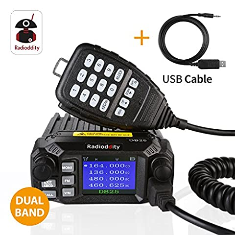 Radioddity DB25 PMR Dual Band Quad-standby Mini Mobile Car Truck Radio, VHF UHF 4 Color Display, 25W/10W Car Transceiver with Programming Cable &