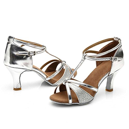 Ladies Ballroom Latino Salsa Scarpe Da Ballo Standard E Stile Latino 255 Argento / Heel1.95¡ ±