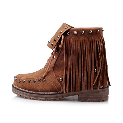 AllhqFashion Damen Mattglasbirne Niedrig-Spitze Eingelegt Schnüren Stiefel Braun