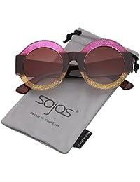 SOJOS Gafas De Sol Mujer Grande Marco Redondas Elegante SJ2047