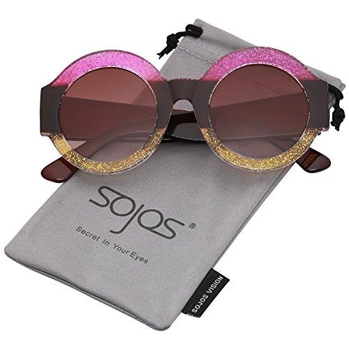 SOJOS Schick Klassische Dicke Runde Sonnenbrille Groß SJ2047 mit Rosa Gelb Rahmen/Braun Linse