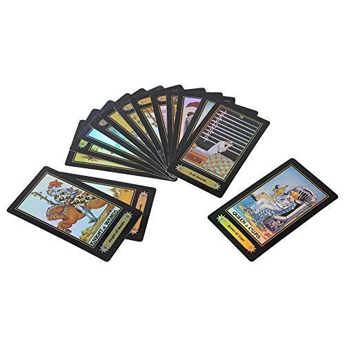 Zerodis- Juego de Cartas del Tarot, 78 Cartas / 1 Juego Baraja de Waite Tarot Tarjetas de pronóstico Juego de Mesa con guía del Usuario Caja Regalos para niños Adultos (Negro)