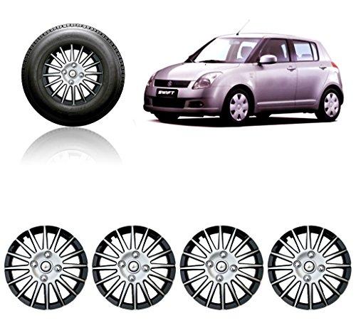 Auto Pearl CMRY_SB_14InchWC_Swift_Old 14-inch Silver and Black Wheel Cover Cap for Maruti Suzuki Swift (Set of 4)