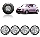 #6: Auto Pearl - Premium Quality Car Full Wheel Cover Caps Silver and Black 14 Inches For - Maruti Suzuki Swift Old