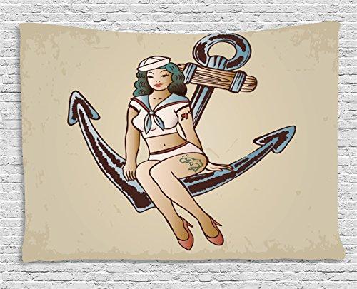 n ambesonne, Pinup Girl mit Sailor Outfit Shark und Herz Tattoo Vintage Zwanziger Jahre Illustration zum Aufhängen, für Schlafzimmer Wohnzimmer Wohnheim, multicolor, Textil, Multi 1, 60