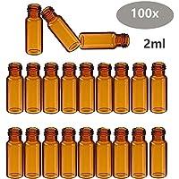 100 x Viales Autosample 2ml Botella de Cristal de Borosilicato Vial 9-425 Lab HPLC GC, ámbar