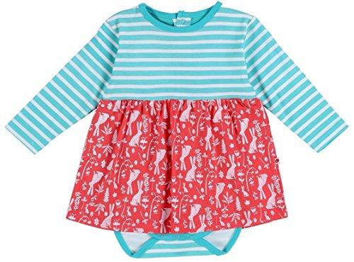 PICCALILLY in cotone organico Bambina, colore: turchese e rosso floreale coniglietto corpo vestito Turquoise 0 - 3 mesi