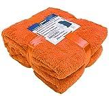 A-Express Orange 125cm x 150cm Warme Weich Teddy Fleecedecke Sofadecke Tagesdecke Kuscheldecke Bed Decke