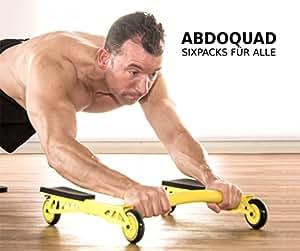 ABDOQUAD | Der innovative Bauchtrainer | FÜR ANFÄNGER BIS PROFISPORTLER | Mit hochqualitativer Kniematte und kugelgelagerten Rollen | Aufgedruckter Barcode für Übungen