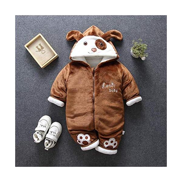 Recién Nacido Mono Invierno Moda Niñito Bebé Niños niñas Calentar Perro Encapuchado Color sólido Mameluco Mono… 3
