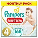Pampers Premium Protection Nappy Pants Size 4, 168 Nappy Pants, 9-15 kg, Monthly Saving Pack, Gentlest Touch On Skin In Easy-On Nappy Pants