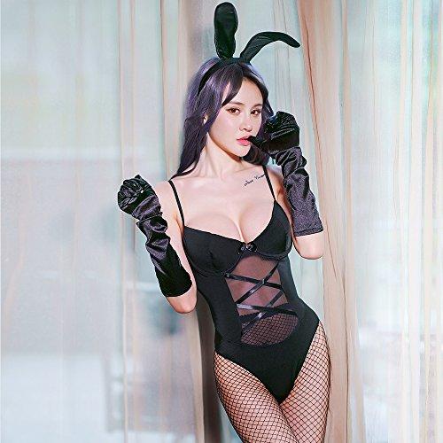 lpkone-Tentation Sexy femmes lingerie chemise de nuit jeu de rôle pièce ensemble uniforme taille: taille moyenne,Black Black