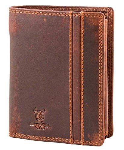 MATADOR Geldbörse Geldbeutel Herren ECHT Leder Portemonnaie Rindsleder 10 Kartenfächer RFID Schutz (Leder Geldbörse Echt)