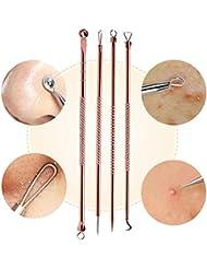 Euiristore 4pcs/Ensemble de points noirs acné retrait outils double face Blemish Extracteur kit Rose doré