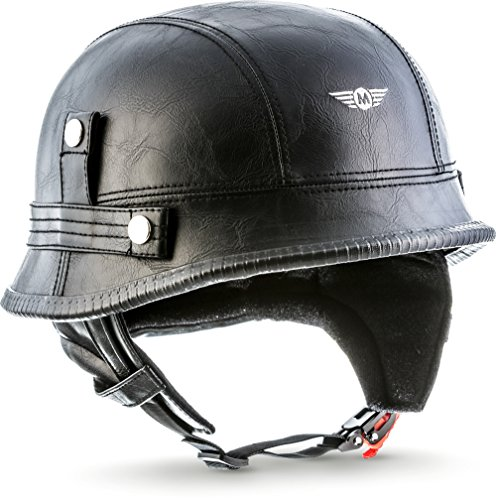 MOTO · D33 Leather Black (Schwarz) · Jet-Helm Braincap Bobber Halbschalen · Chopper Mofa Motorrad-Helm Roller Retro Scooter-Helm · Click-n-SecureTM Clip · Tragetasche · M (57-58cm)